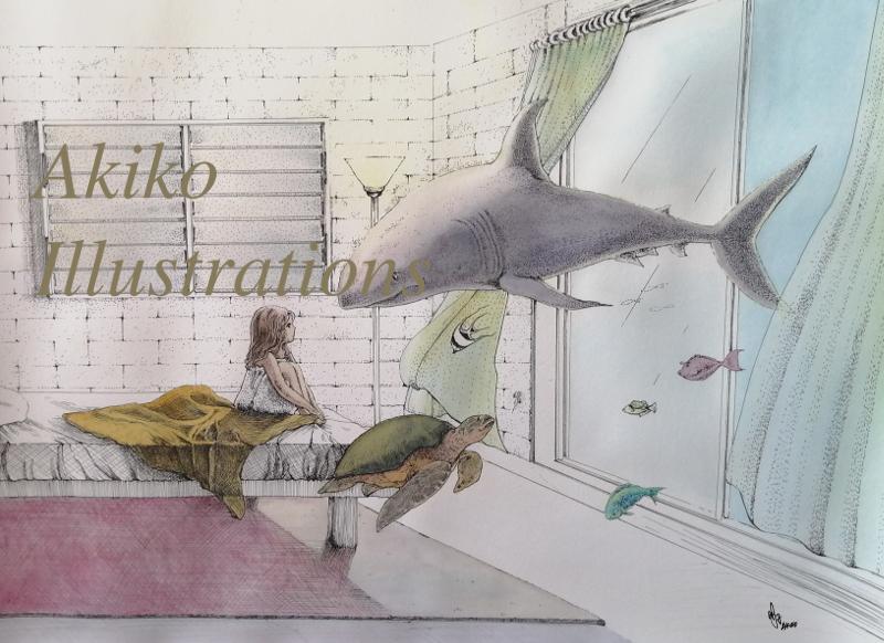 Shark visiting in Hawaiian stories-30cm x 40cm