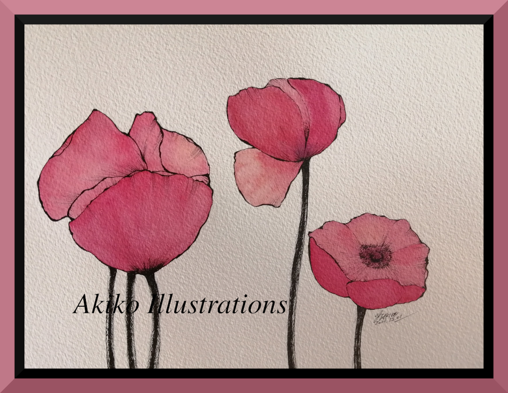 Poppies ( simple pink)-19cm x 30cm